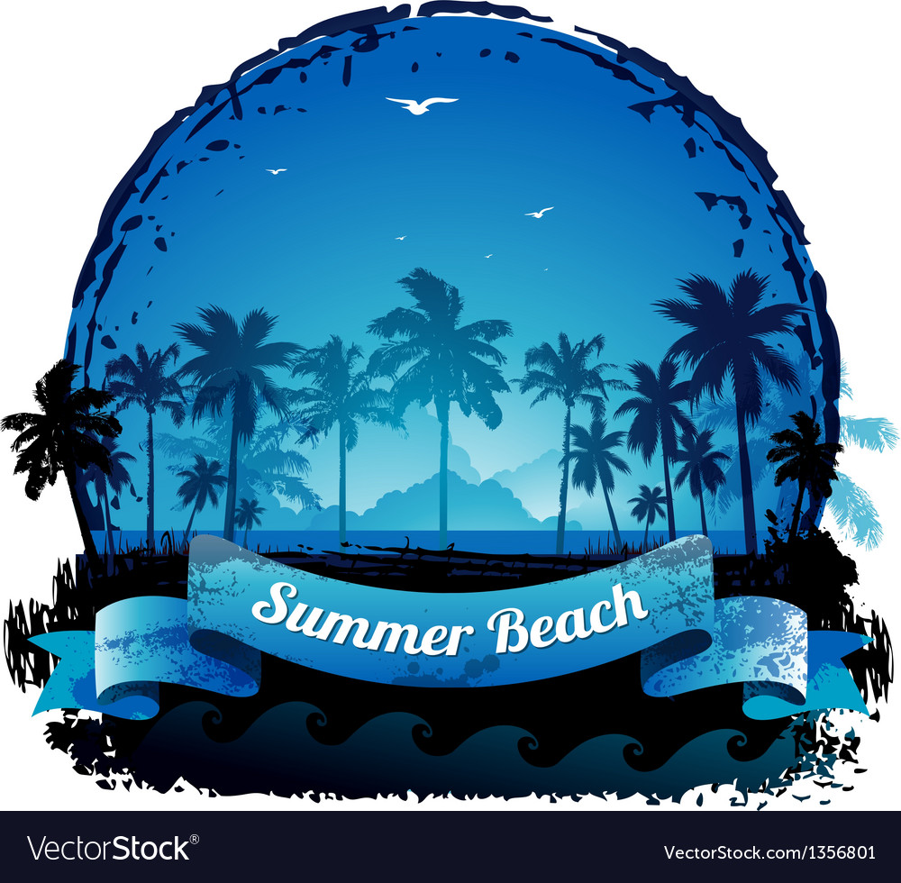 Beautiful blue tropical summer vacation background vector | Price: 1 Credit (USD $1)