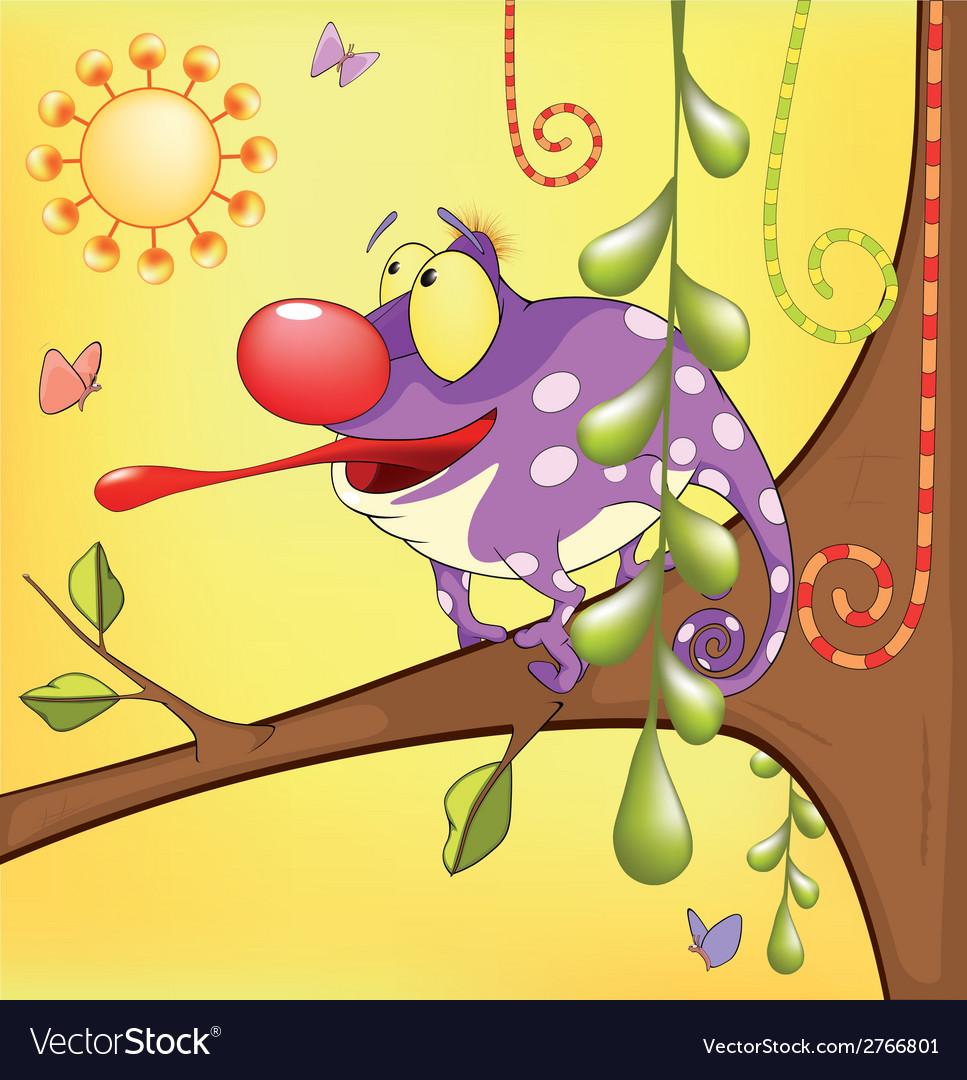 Big chameleon cartoon vector | Price: 1 Credit (USD $1)