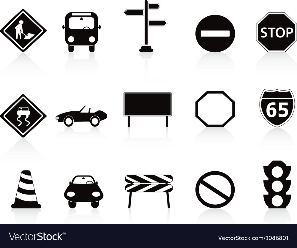 Black traffic sign icons set vector | Price: 1 Credit (USD $1)