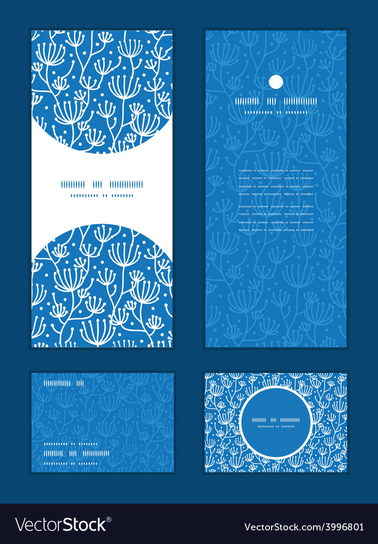 Blue white lineart plants vertical frame vector | Price: 1 Credit (USD $1)