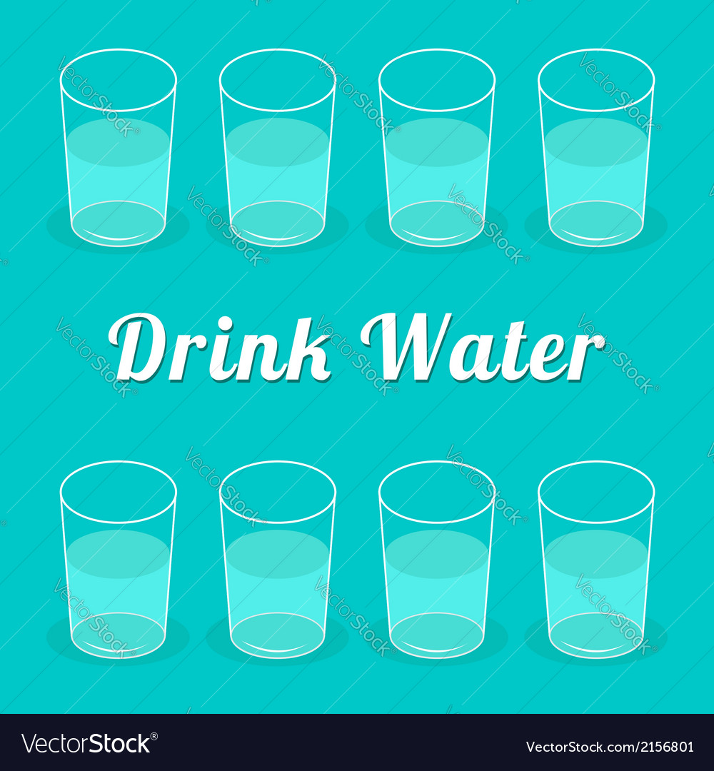 Drink more water glasses set infographic flat desi vector | Price: 1 Credit (USD $1)