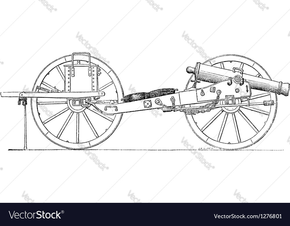 Field gun vintage engraving vector | Price: 1 Credit (USD $1)