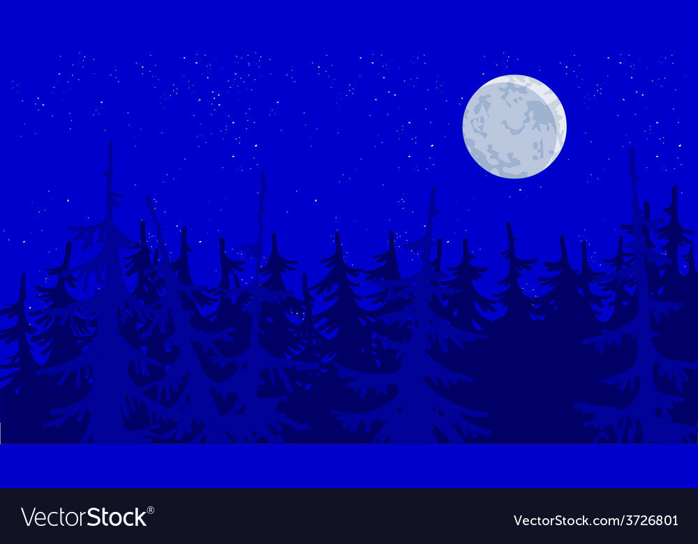 Forest blue moonlit night vector | Price: 3 Credit (USD $3)