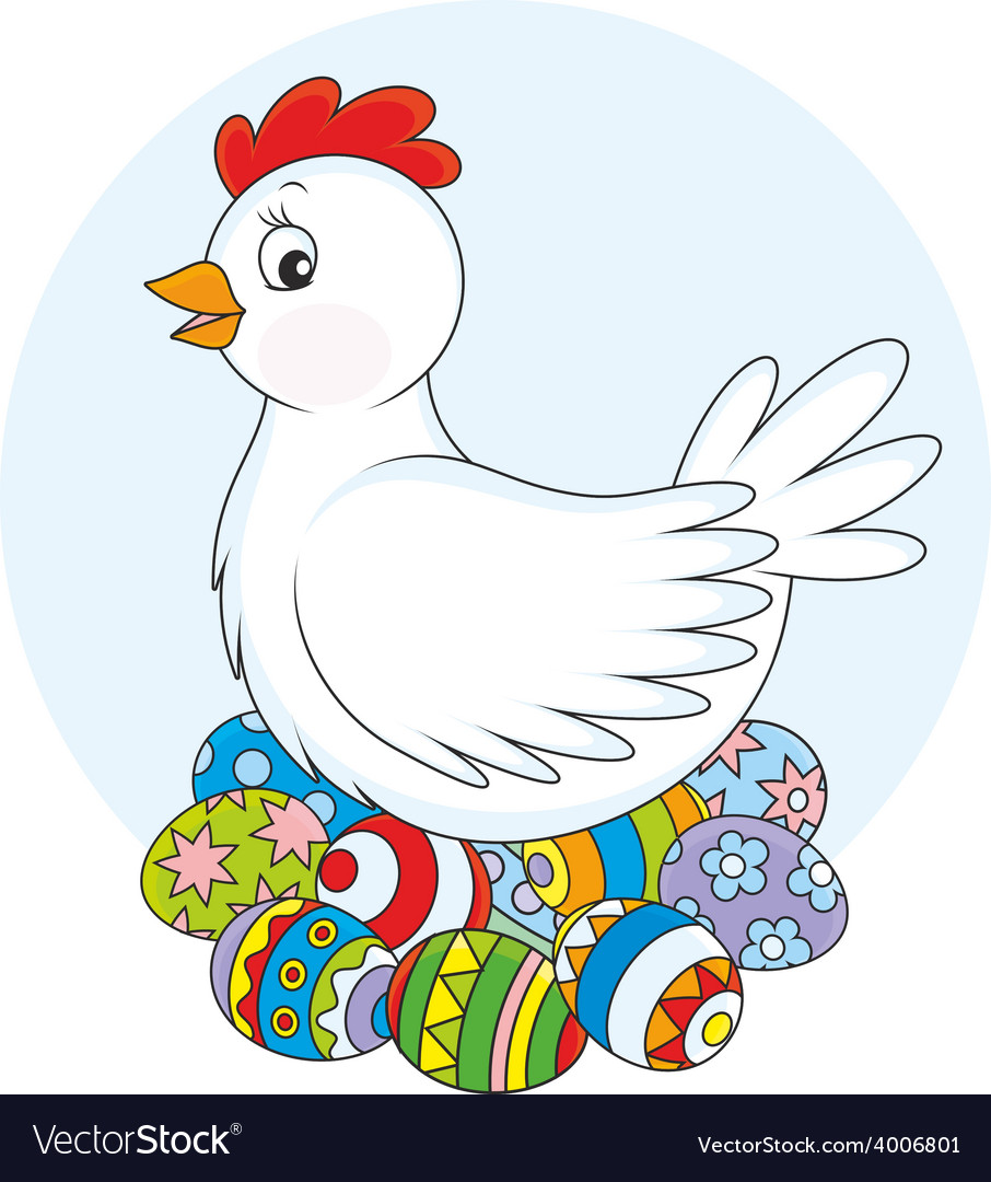 Hen and easter eggs vector | Price: 1 Credit (USD $1)