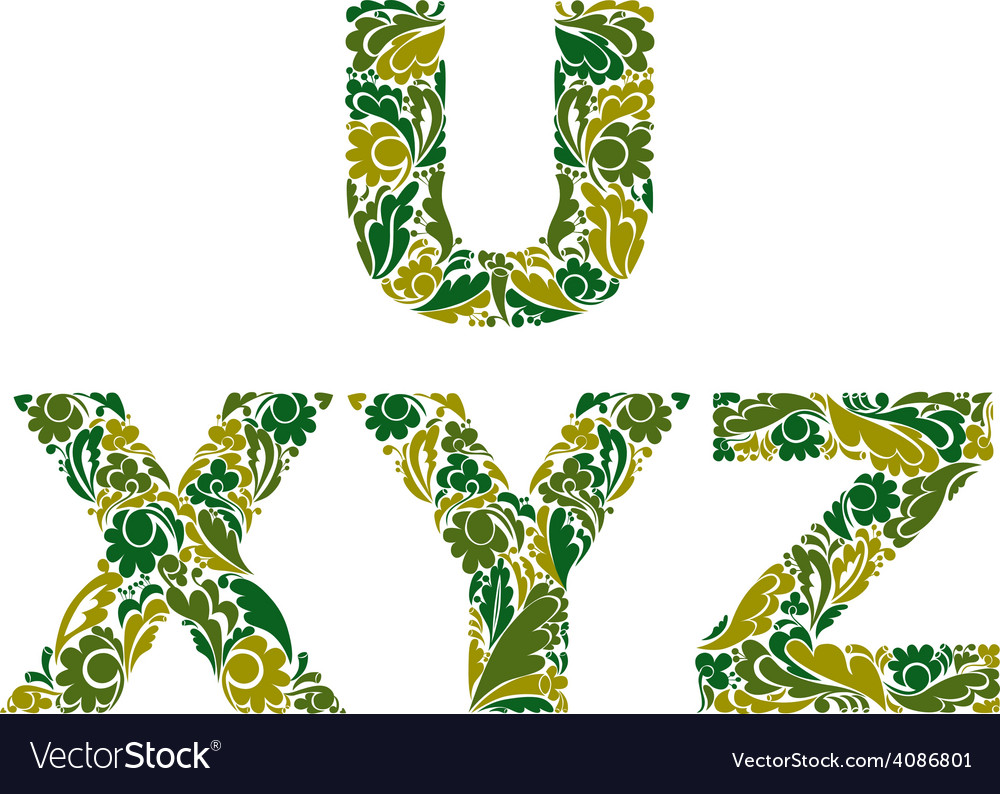 Letters decorated with seasonal leaves u x y z vector | Price: 1 Credit (USD $1)
