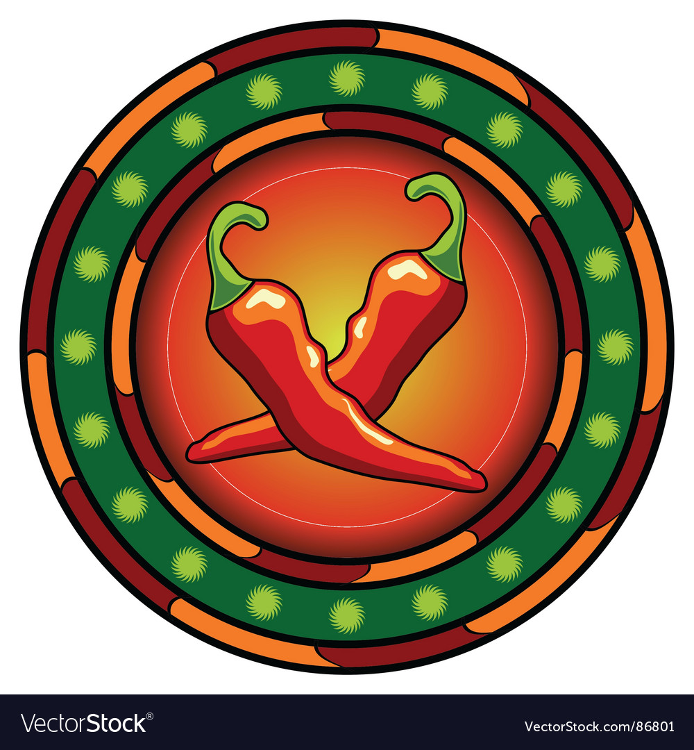 Mexican chili peppers logo vector | Price: 1 Credit (USD $1)