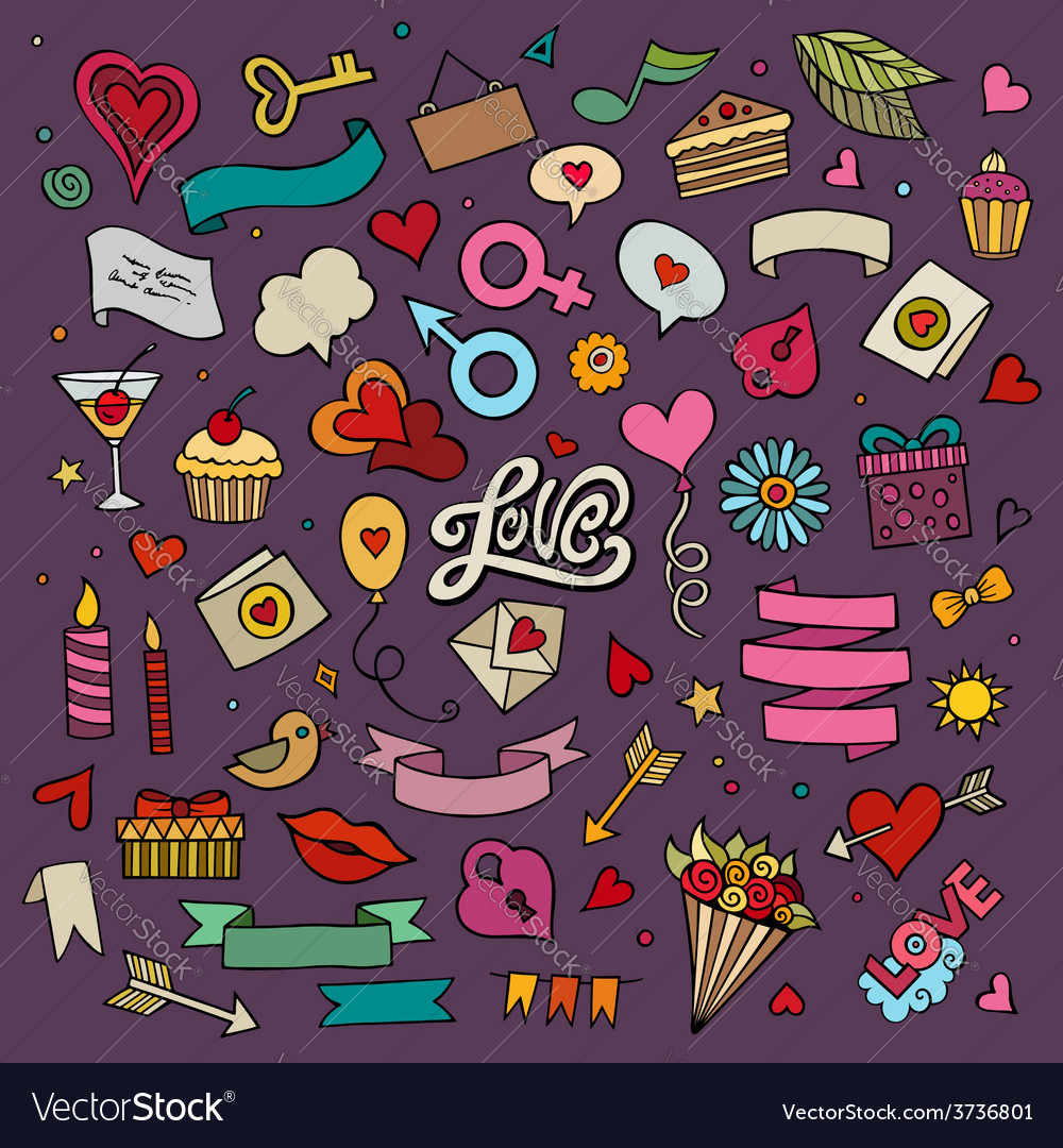 Set of love doodle icons vector | Price: 1 Credit (USD $1)