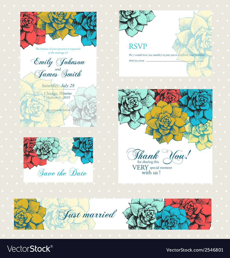 Wedding invitation set with vintage flowers vector | Price: 1 Credit (USD $1)