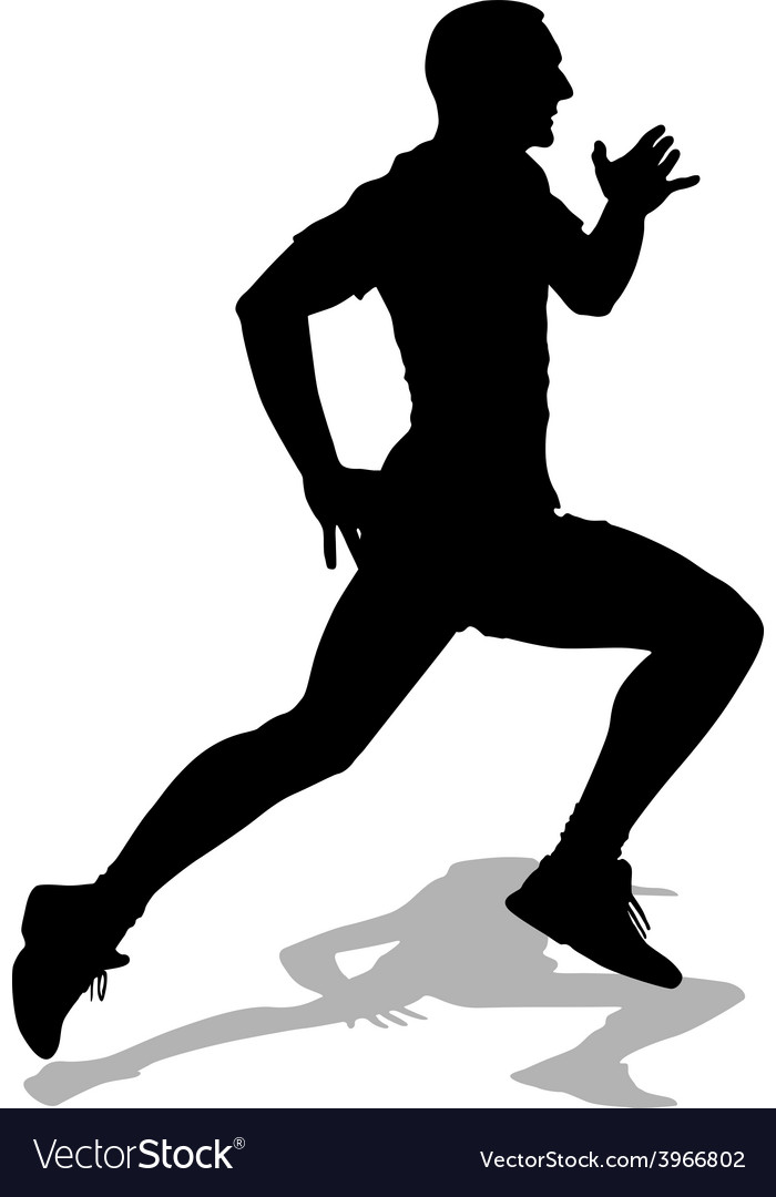 Athlete on running race silhouettes vector | Price: 1 Credit (USD $1)