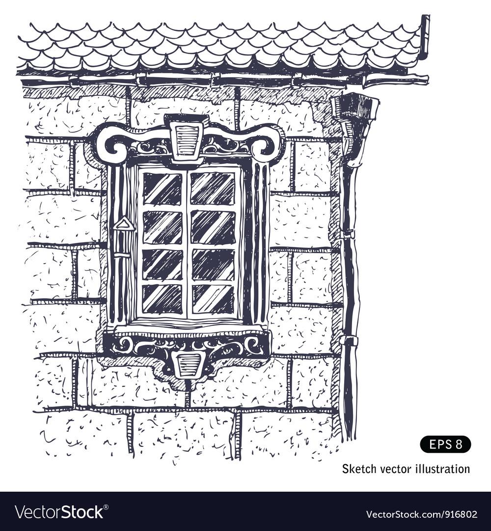 Beautiful window brick wall vector | Price: 1 Credit (USD $1)
