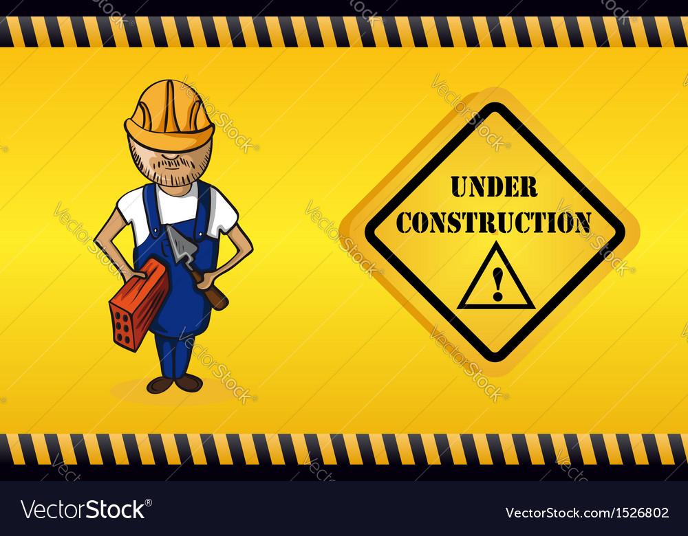 Constructor man cartoon under construction sign vector   Price: 1 Credit (USD $1)