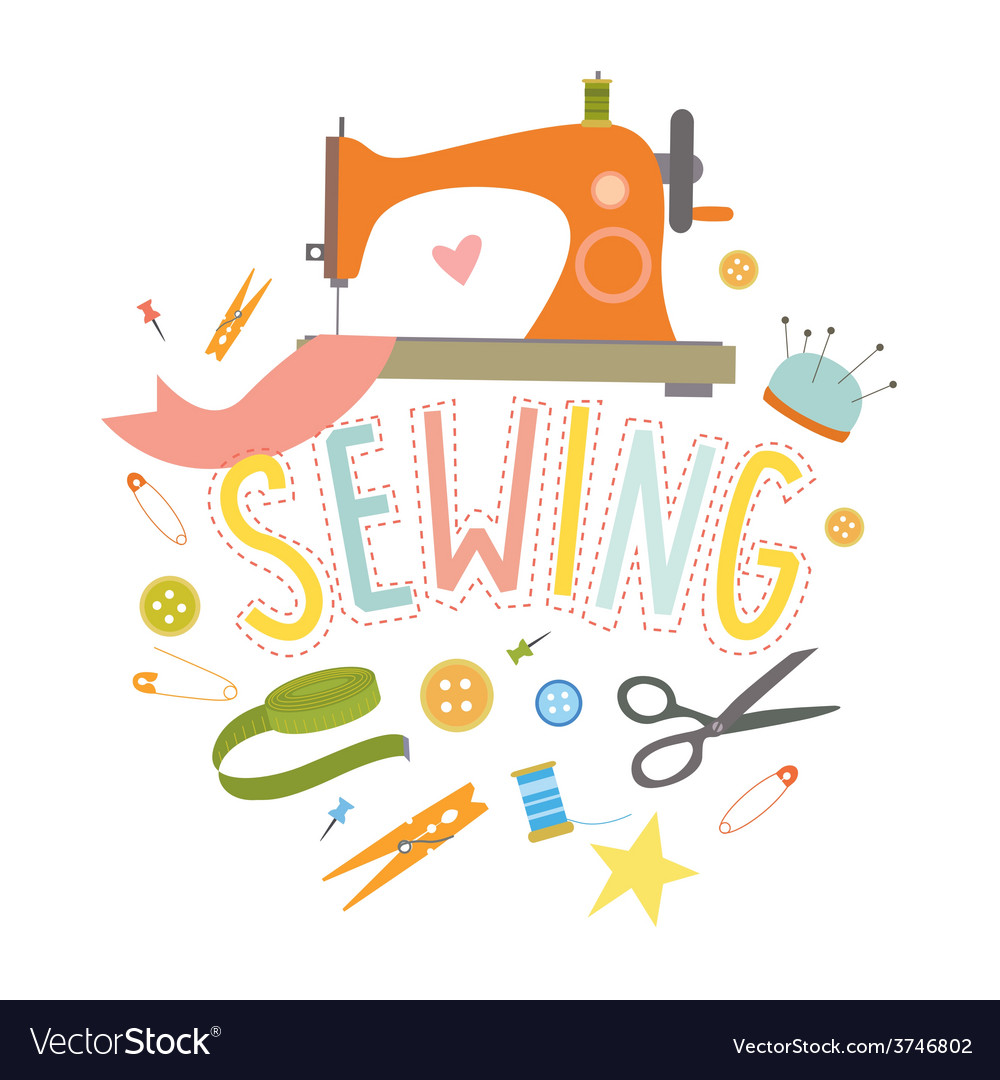 Design with sewing machine vector | Price: 1 Credit (USD $1)