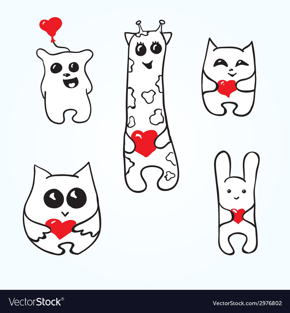 Doodle animals with hearts vector | Price: 1 Credit (USD $1)