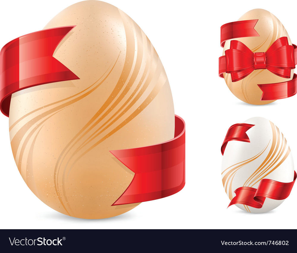Egg with red ribbon vector | Price: 1 Credit (USD $1)
