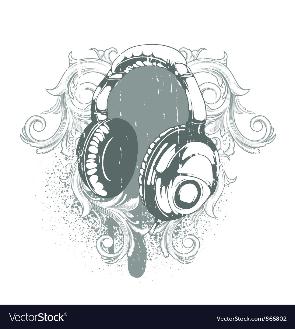 Headphones emblem vector | Price: 1 Credit (USD $1)