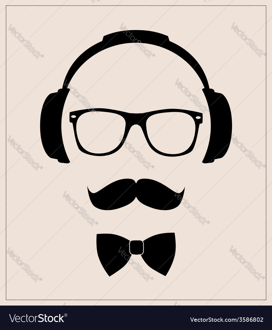 Hipster style set bowtie glasses mustaches vector | Price: 1 Credit (USD $1)