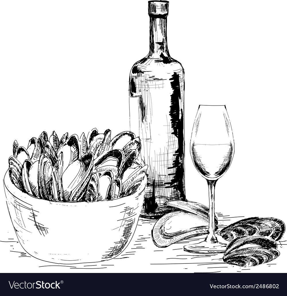 Mussels with wine vector | Price: 1 Credit (USD $1)