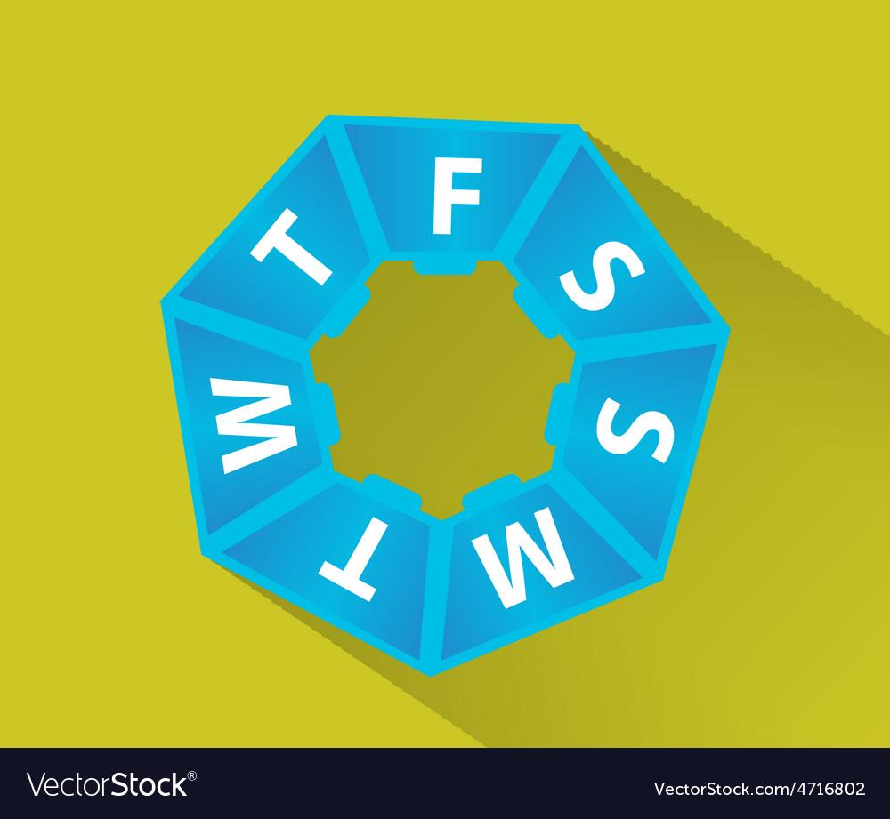 Plastic box for pills 1 week flat shadow vector | Price: 1 Credit (USD $1)