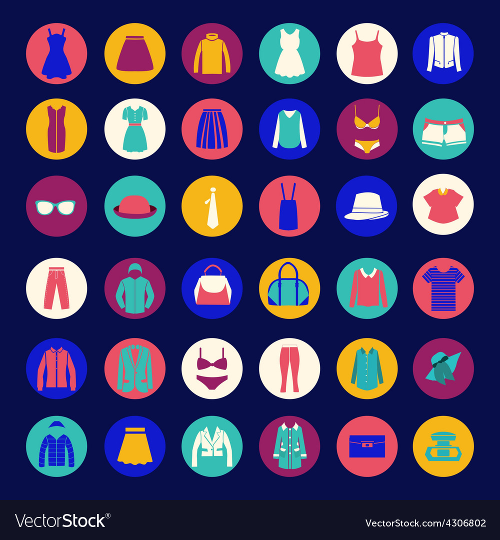 Set icons of fashion cloth and accessories collect vector | Price: 1 Credit (USD $1)