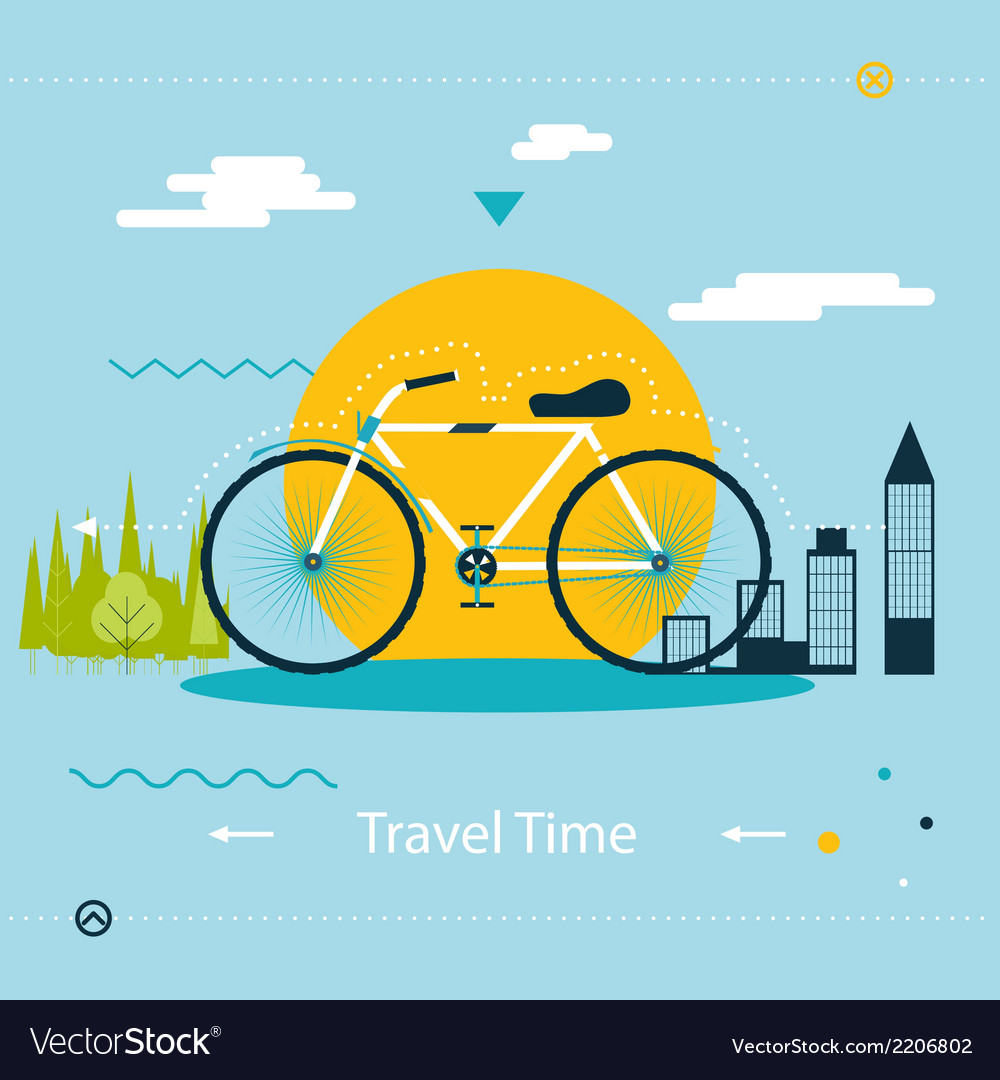 Travel  healthy lifestyle symbol bicycle modern vector | Price: 1 Credit (USD $1)