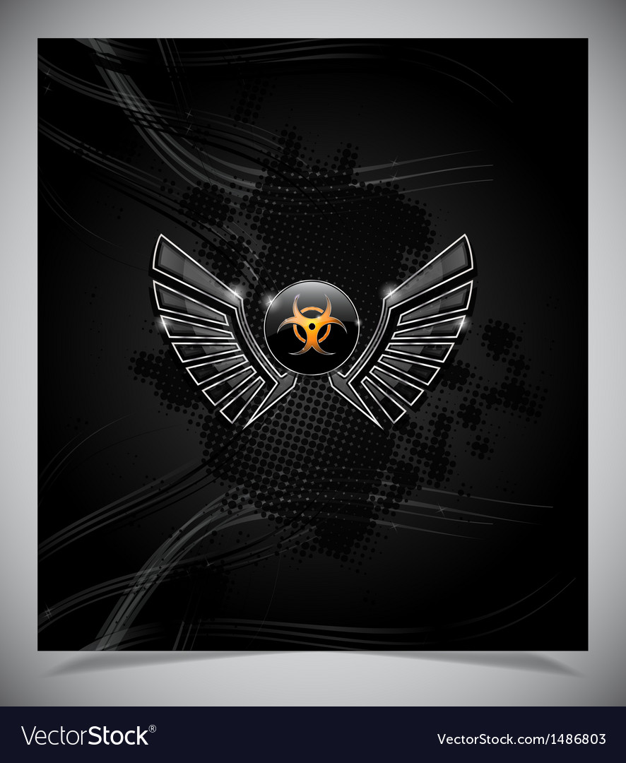 Badge with biohazard symbol and wings vector | Price: 1 Credit (USD $1)