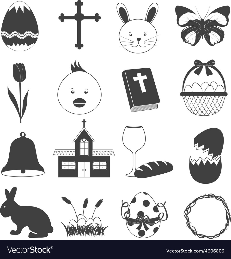 Basic easter icons set vector | Price: 1 Credit (USD $1)