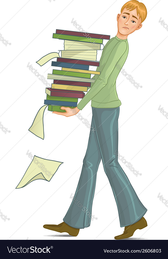Boy is under stress with lot of paper work vector | Price: 1 Credit (USD $1)