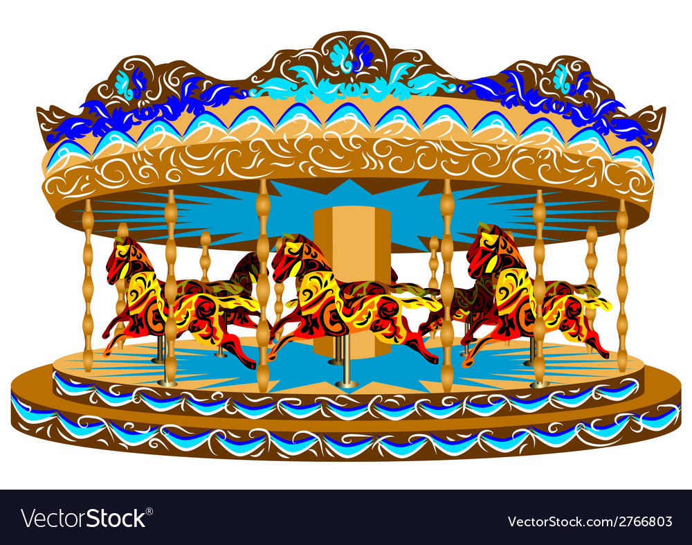 Carousel with horses vector | Price: 1 Credit (USD $1)