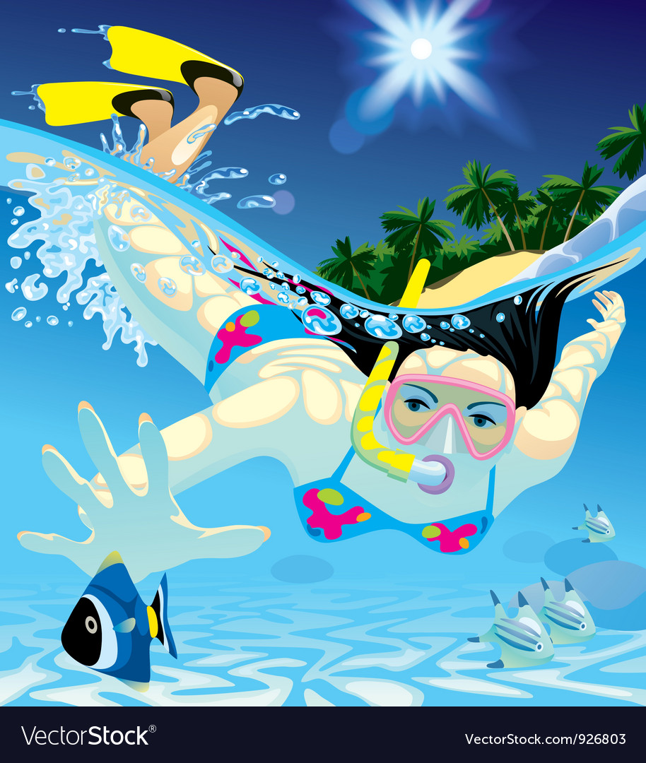 Diving girl vector | Price: 5 Credit (USD $5)