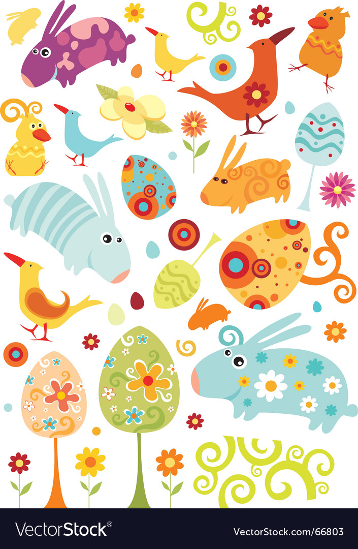 Easter animals set vector | Price: 1 Credit (USD $1)