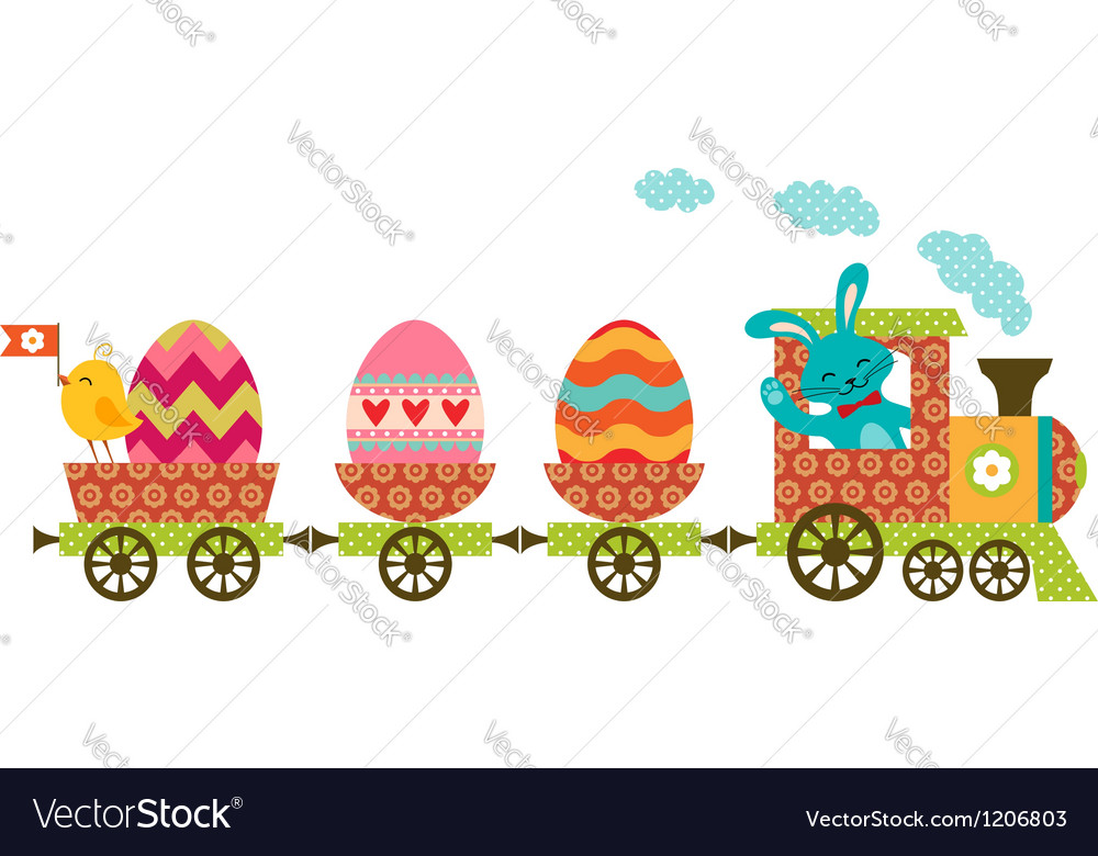 Easter train vector | Price: 1 Credit (USD $1)
