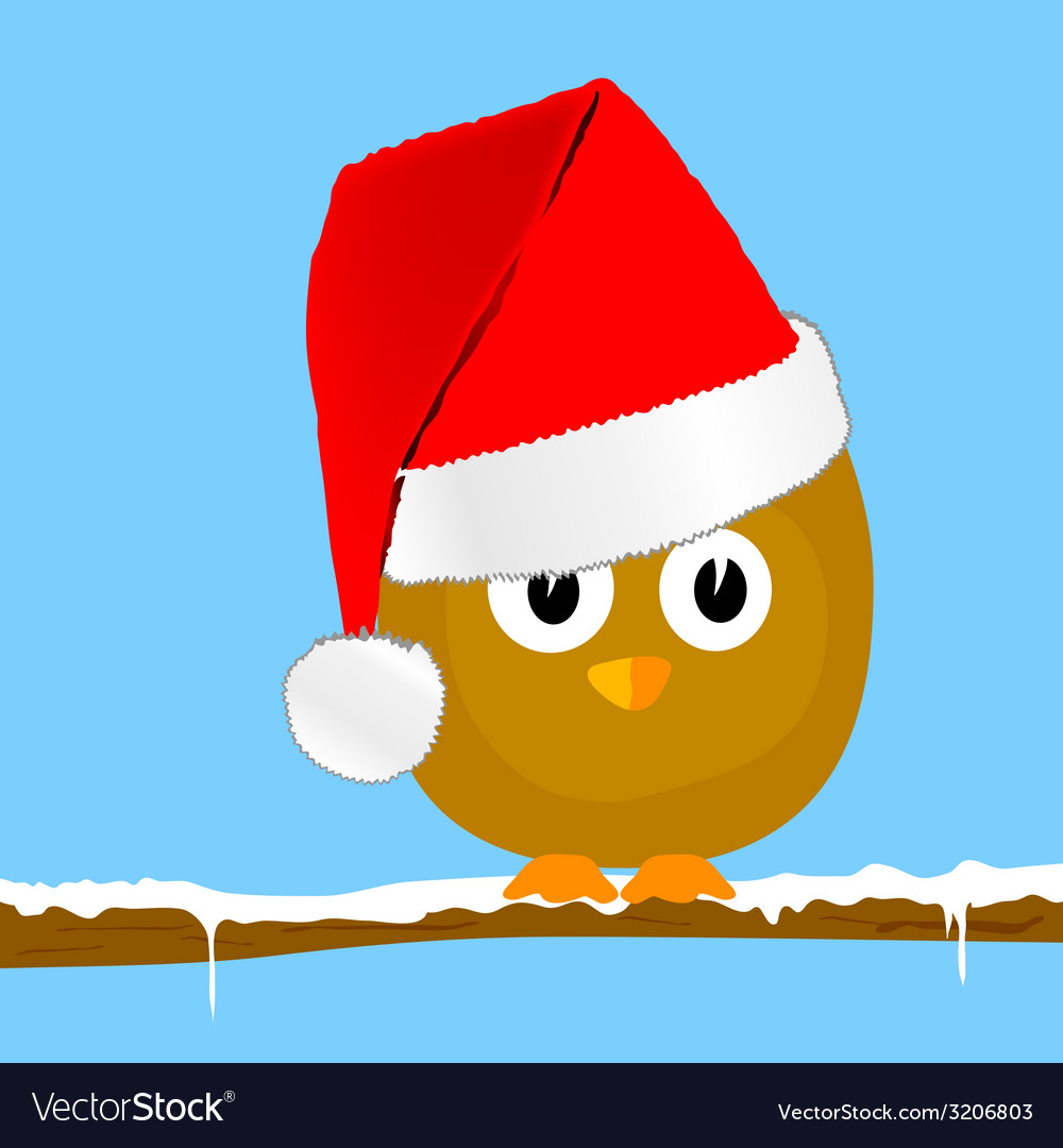 Funny animal with christmas hat art vector | Price: 1 Credit (USD $1)