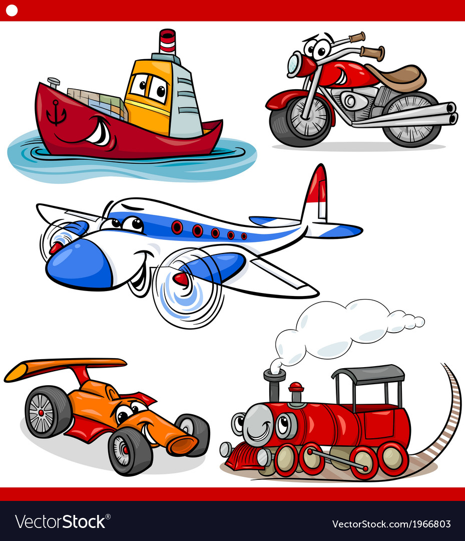 Funny cartoon vehicles and cars set vector | Price: 1 Credit (USD $1)