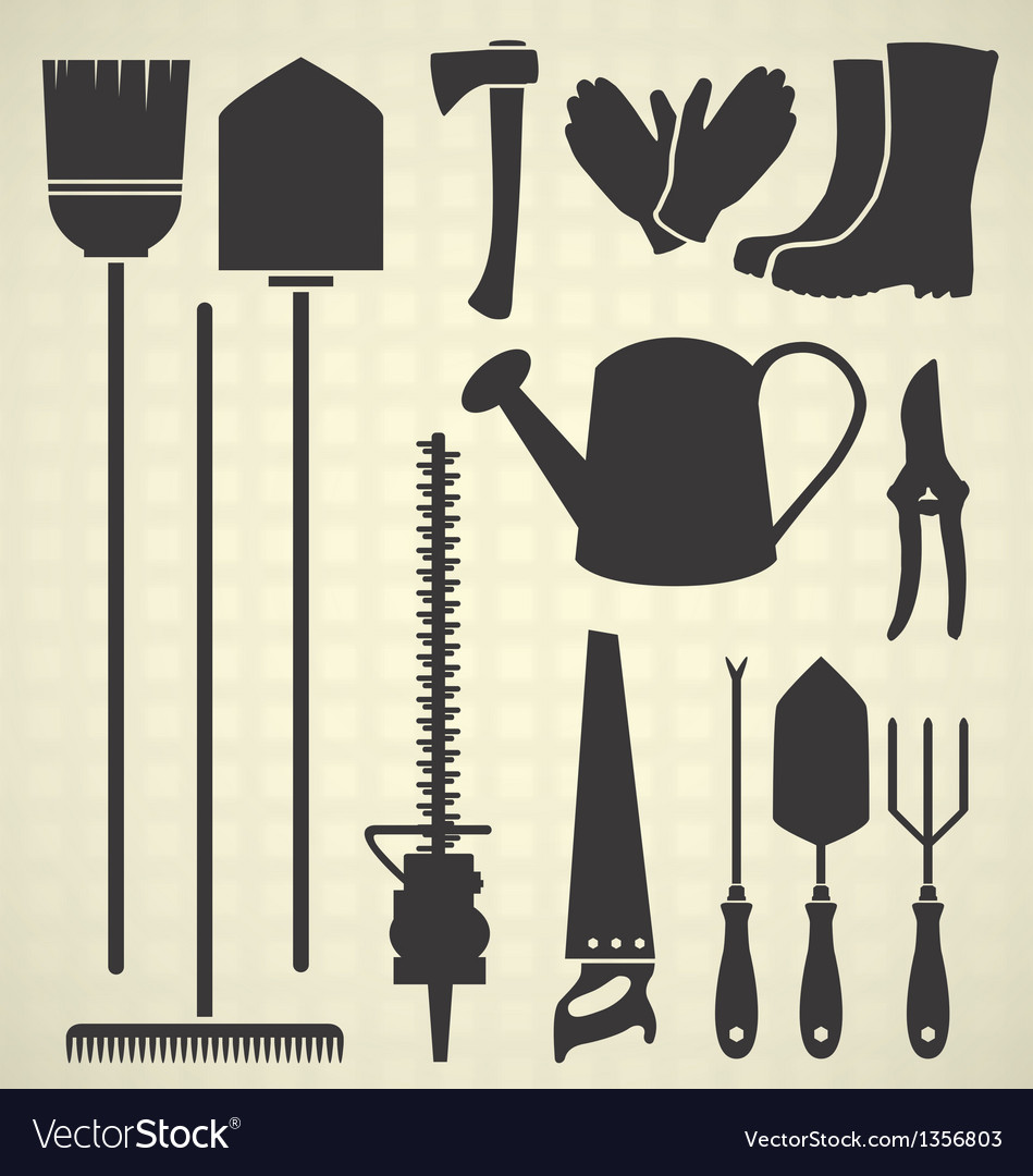 Gardening tool silhouette collection vector | Price: 1 Credit (USD $1)