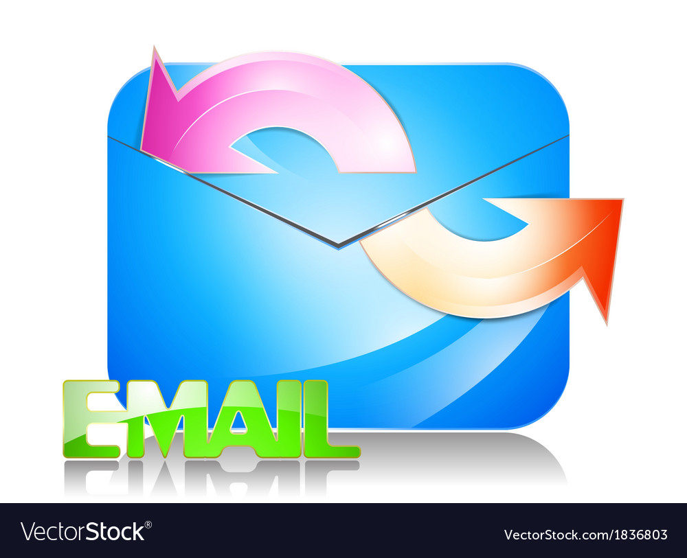 Glossy e mail icon on a white background vector | Price: 1 Credit (USD $1)