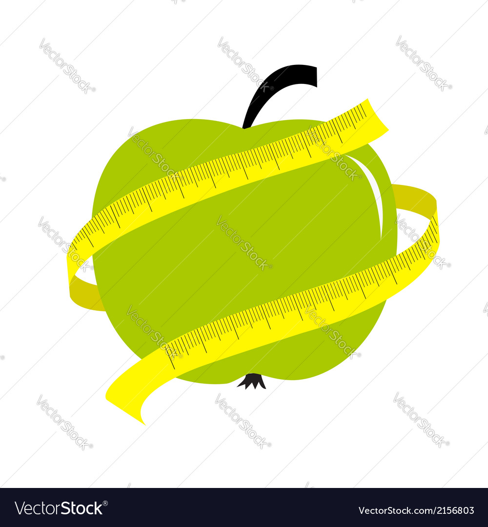 Green apple with yellow measuring tape ruler diet vector | Price: 1 Credit (USD $1)