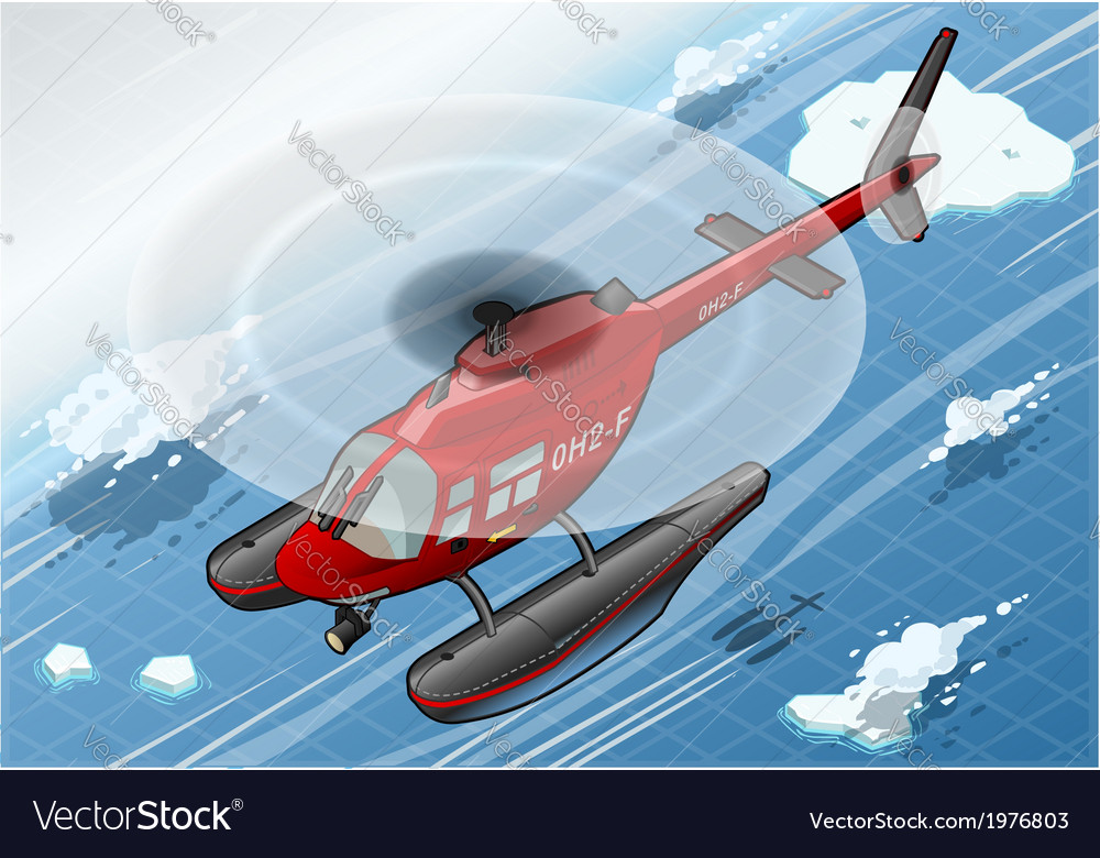 Isometric arctic emergency helicopter in flight in vector | Price: 1 Credit (USD $1)