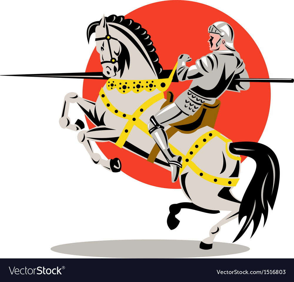 Knight on horse with sword vector | Price: 1 Credit (USD $1)