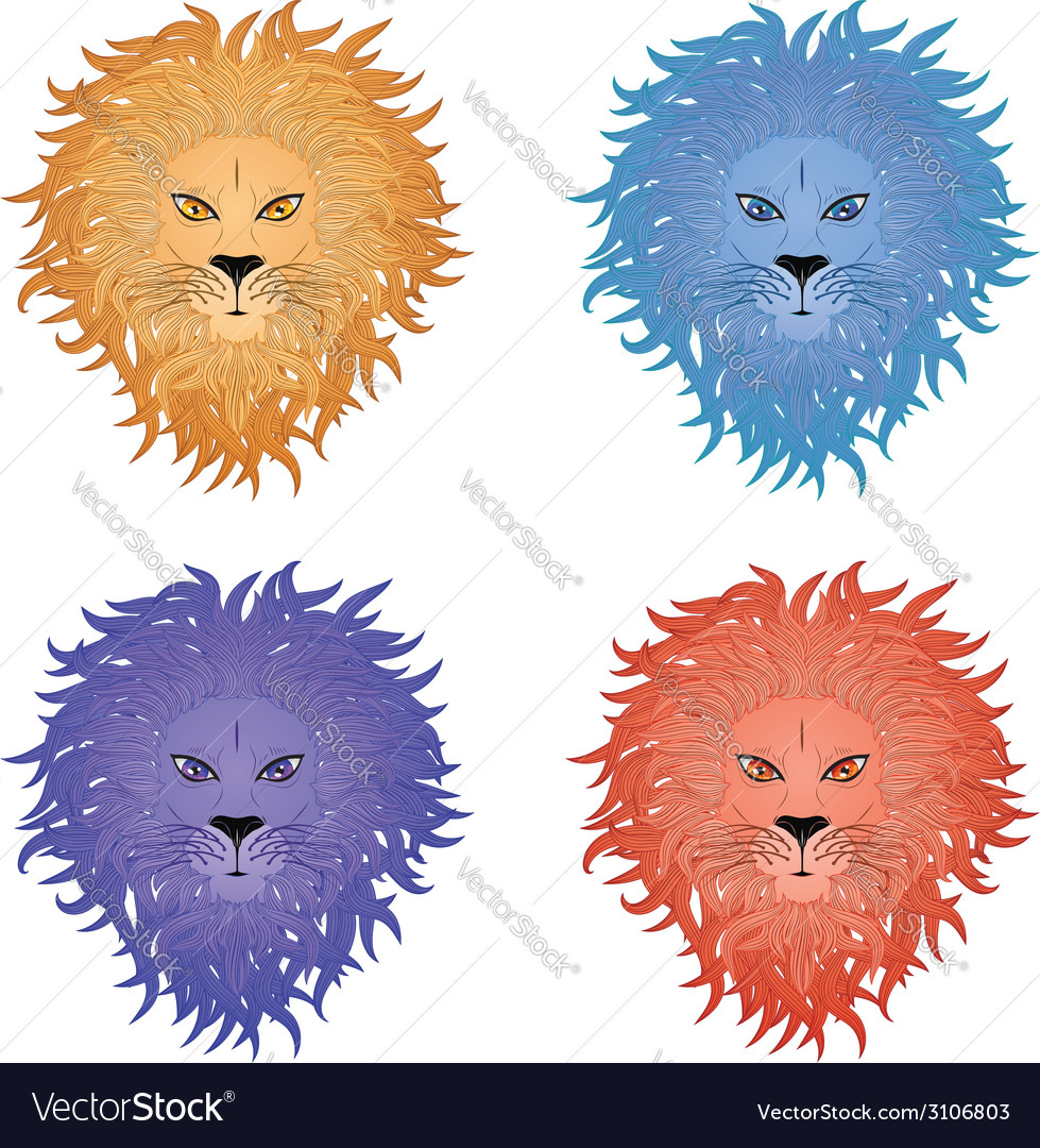 Lion face4 vector | Price: 1 Credit (USD $1)