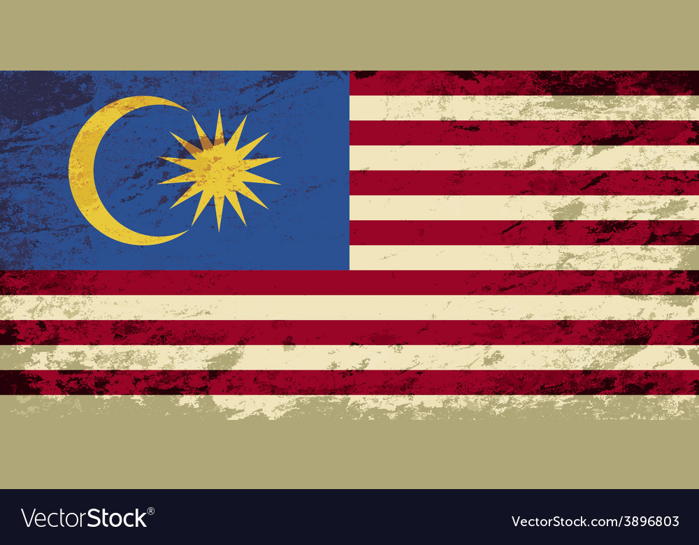 Malaysian flag grunge background vector   Price: 1 Credit (USD $1)