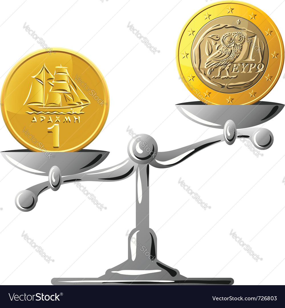 Old greek drachma coin vector | Price: 1 Credit (USD $1)