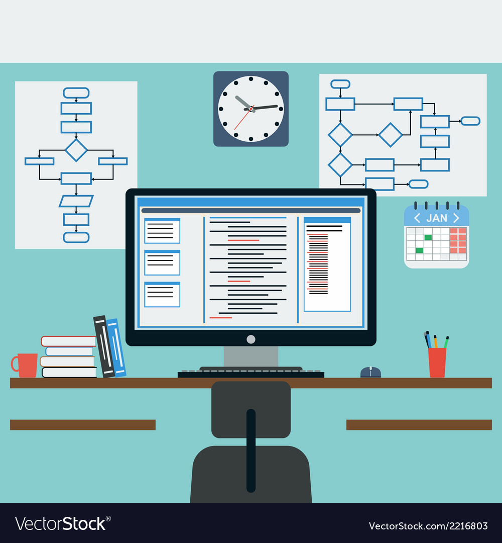 Programmer workplace vector | Price: 1 Credit (USD $1)