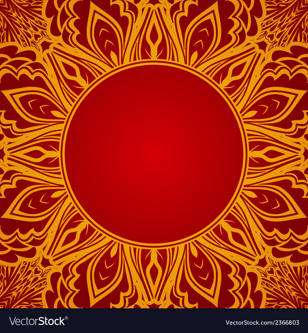 Red background with lace round ornament vector | Price: 1 Credit (USD $1)