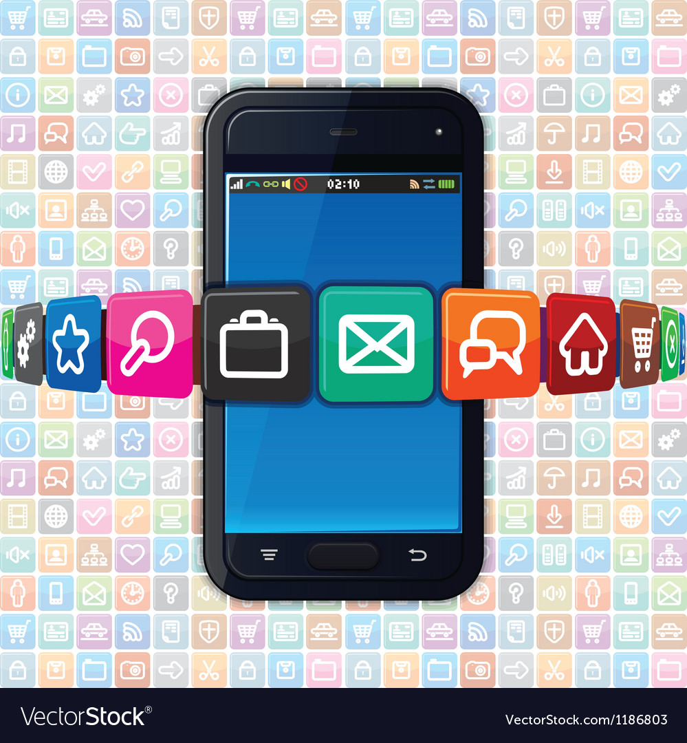 Smartphone with internet icons technology vector | Price: 1 Credit (USD $1)