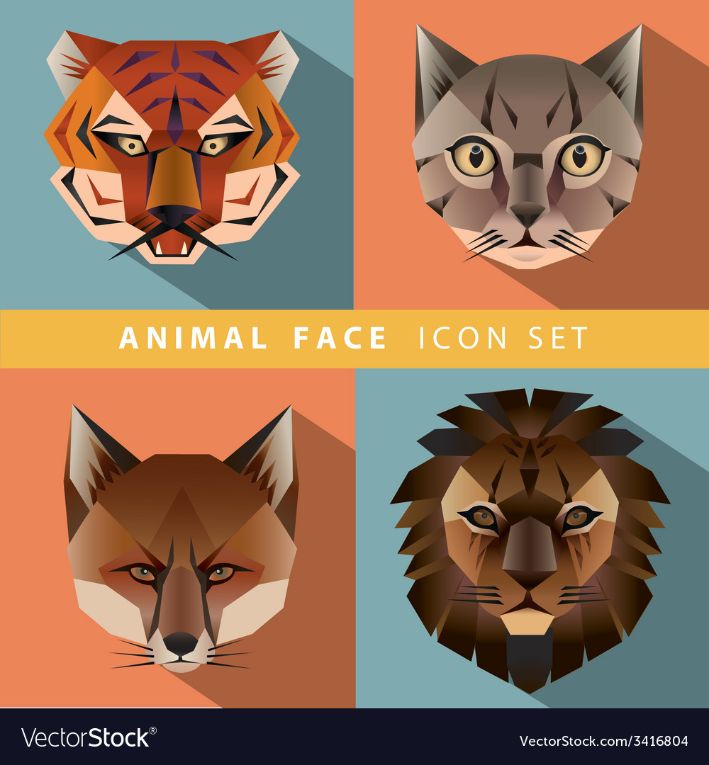Animal face icon set vector | Price: 1 Credit (USD $1)