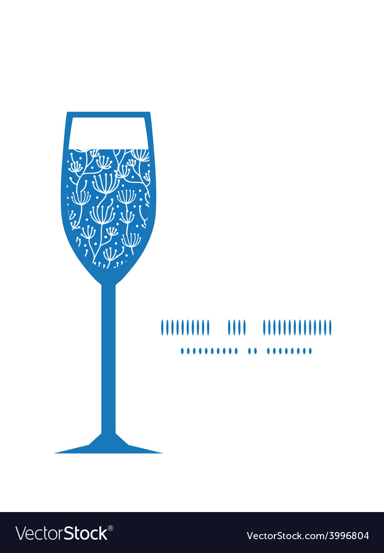 Blue white lineart plants wine glass vector | Price: 1 Credit (USD $1)