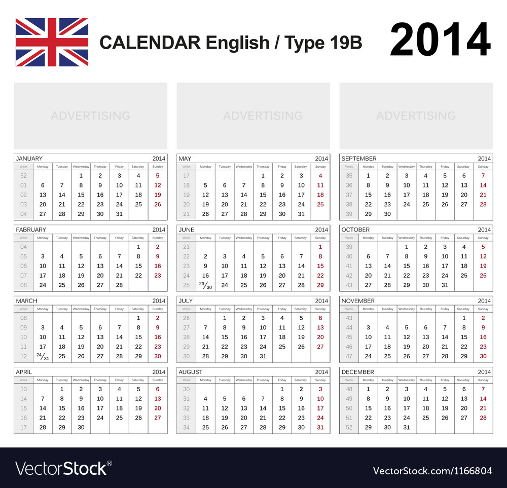Calendar 2014 english type 19b vector | Price: 1 Credit (USD $1)