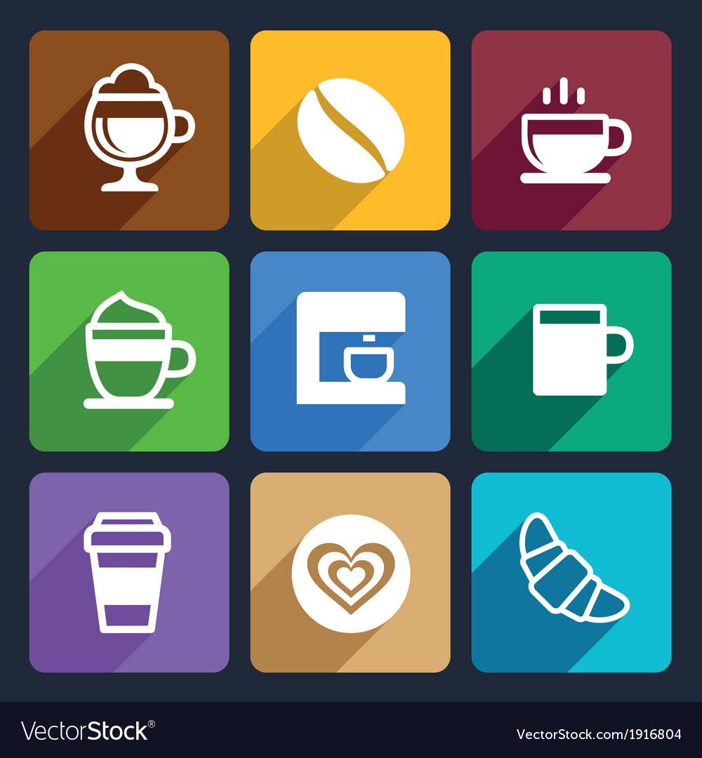 Coffee flat icons set 44 vector | Price: 1 Credit (USD $1)