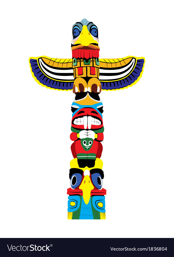 Colorful totem pole vector | Price: 1 Credit (USD $1)