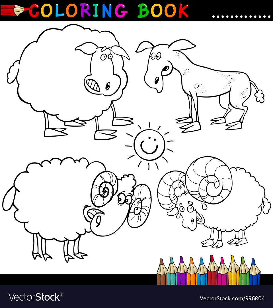 Coloring book or page cartoon of funn vector | Price: 3 Credit (USD $3)